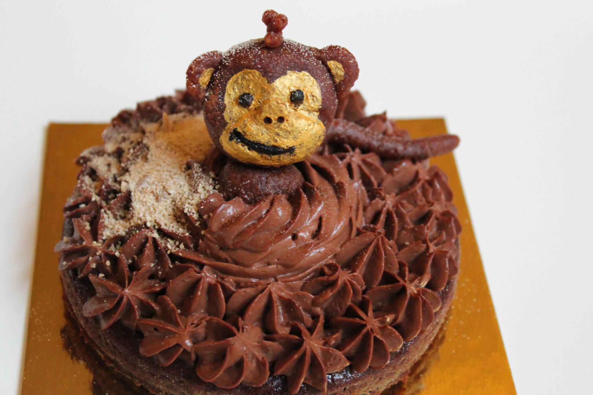 chocoladetaart met aapje zonder suiker